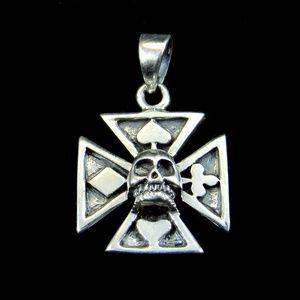925 Sterling Silver Iron Cross & Skull Pendant
